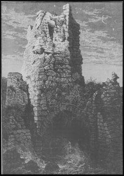 Glasplattendia Turm der Burg v. Cäsarea