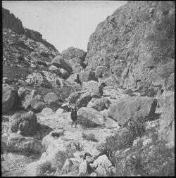 Glasplattendia Wadi es-swenit [Nachal Michmas] im W.