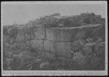 Glasplattendia Tell el-mutesellim [Megiddo], Der nördliche Wall d. Nord-Forts aus der Zeit Salomos