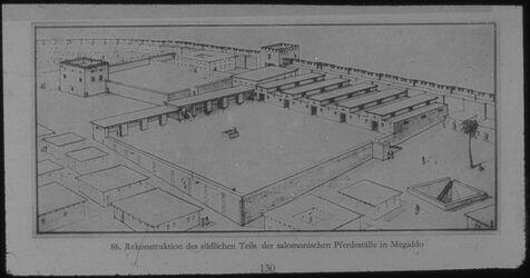Glasplattendia Tell el-mutesellim [Megiddo], Rekonst. D. südl. Teils d. Pferdeställe