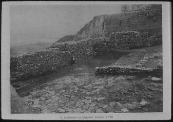 Glasplattendia Tell el-mutesellim [Megiddo], Stadtmauer, Schicht XVIII