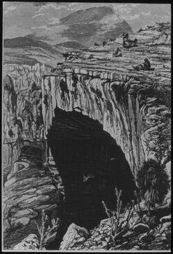 Glasplattendia Dschisr el-Hadschar [Gisr el-hagar], Steinbrücke über den Bach der Milchquelle