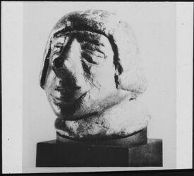 Glasplattendia Ugarit. Bronzekopf. XIV. Jh. V. Chr. [Ras esch-schamra]