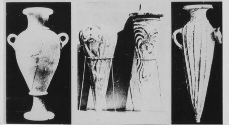 Glasplattendia Vasen aus Minet-El-Beida (Ugarit). [wohl Ras esch-schamra]