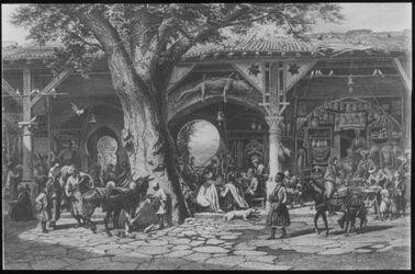 Glasplattendia Bazar in Damaskus