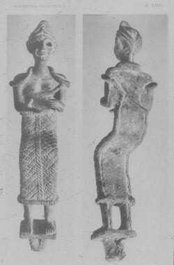 Glasplattendia Ras Schamra [Ras esch-schamra], Männl. Figur, 19.-17. Jhd.