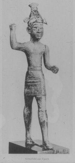 Glasplattendia Ugarit, Statue eines Gottes [Ras esch-schamra]