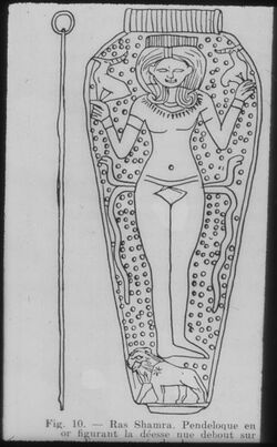 Glasplattendia Ugarit, Goldener Anhänger m. Göttin [Ras esch-schamra]