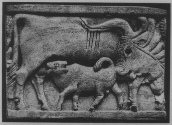Glasplattendia Paris, Louvre, Elfenbeinplakette a. Arslan-Tash [Arslan Tash], Mitannisch-syr. Motiv, 9.-8. Jhd.