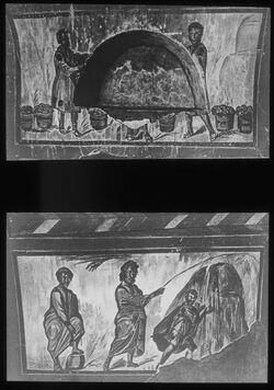 Glasplattendia Rom. S. Kallistus, Brot - und Fischwunder, Mosescenen