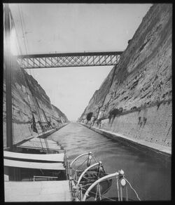 Glasplattendia Kanal durch den Isthmos [Isthmus von Korinth]