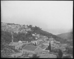Glasplattendia Moslem. Stadtteil in Safed