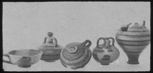 Glasplattendia Tell el Kedah, Import. Gefäße aus Mycene, 13. Jhd., Area F