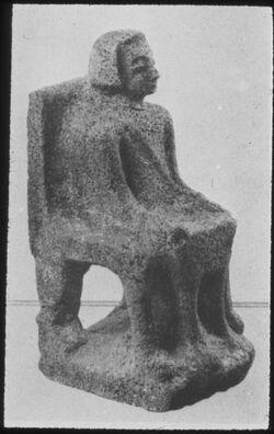 Glasplattendia Tell el-Kedah, Götterstatue aus Kann. Tempel, Area H