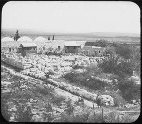Glasplattendia Synagoge v. tell hum [kafarnaum, kapernaum] v. SW