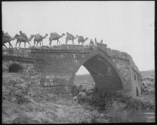 Glasplattendia gisr el megami (Jordanbrücke) mit Kamelen