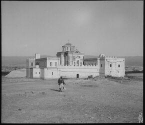 Glasplattendia Das russ. St. Johannes-Kloster [Kasr el-jehud] am Jordan