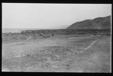 Glasplattendia Blick von Chirbet Qumran auf Ain el-feschcha