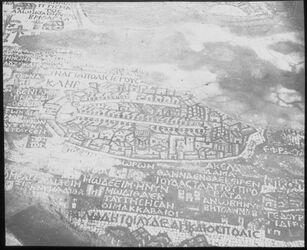 Glasplattendia Madabamosaik Jerus. Am. Colony