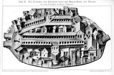 Glasplattendia Jerusalem a. d. Madaba-Mosaik nach P. Häusler