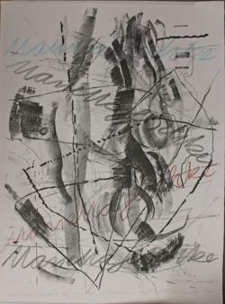 KU001011; Ausstellung . Galerie . Art . Alt . Aue . Lithografien. . vom 7. Mai '95 -11. Juni 1995; Lithografie